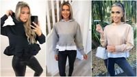 Ladies Frill Peplum Hem Hoodie Womens Oversized Sweatshirt Jumper Blouse Top UK
