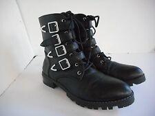 Tildon Womens Black Four-Buckle Military Boots Size 6