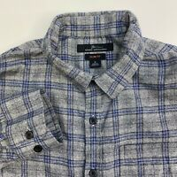 Marc Anthony Button Up Shirt Mens Small Gray Blue Plaid Slim Fit Long Sleeve