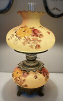 """Vintage GWTW Hurricane Lamp Hand Painted Flowers 3-Way switch 25""""H"""