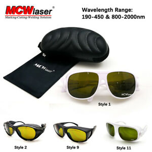 MCWlaser Laser Eye Glasses Protection Safety Goggles190-450 & 800-2000nm CE EP-5