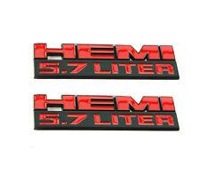 2x OEM 5.7 LITER EMBLEM BADGE DECAL for DODGE RAM JEEP HEMI BLACK FU Matte Red