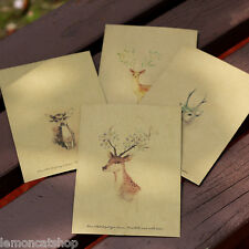 Retro Vintage Print DEER Envelopes 4pc fancy kraft paper cute reindeer envelopes