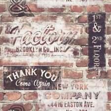 Brick Effect Wallpaper | Vintage Signs | Brown Tones 3D | Stencil | Rasch 23860