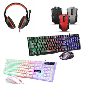 Gaming Keyboard and Mouse Set - LED Mouse & Headset Gaming PC Laptop PS4 Xbox
