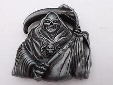 3D Grim Reaper Skull Skeleton Scythe Santa Muerte Belt Buckle Pagan , goth