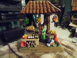 Vintage COSTA RICA Folk Art Ceramic Kitchen Scene Diorama Hand Made Sculpture