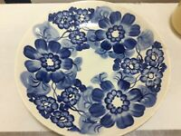 Vintage 2x Serving Plate Chippendale Blue Hand painted 1980 sue