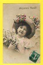 cpa Jeune Fille Chapeau Fleurs JOYEUX NOËL 1913 Eugène MAILLOU de PRIN DEYRANÇON
