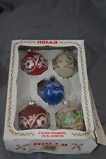 Vintage HOLLY 5 Glass Ornaments with Glitter Merry Christmas Tree Red White Blue