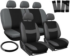 Car Seat Covers Gray Black 17pc for Auto with Steering Wheel-Belt Pad-Head Rest