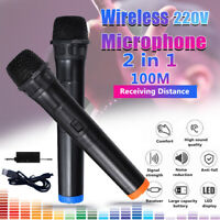 DC 12V UHF 2 Channel Dual Wireless Handheld Microphone Speaker Mi