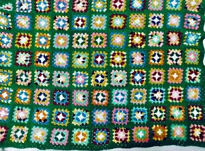 """Vintage Granny Square Afghan Blanket Throw Crochet Green Multi Color 42"""" x 58"""""""