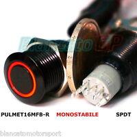 PULSANTE SPDT MONOSTABILE LED ROSSO NERO 12V waterproof auto moto camper kfz