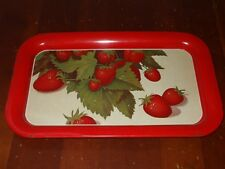 Vintage Metal Tray Red With Strawberries