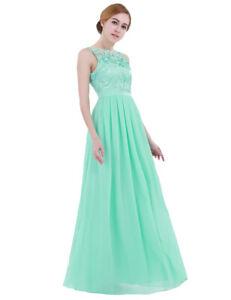 UK Women Long Chiffon Prom Evening Party Bridesmaid Wedding Crochet Maxi Dress