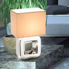 LED textile lampe de table blanc salon céramique cube interrupteur lampe chrome
