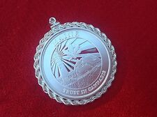 Silver Rope Bezel with 1 troy oz Silver Cannabis Coin, SilverTowne Mint