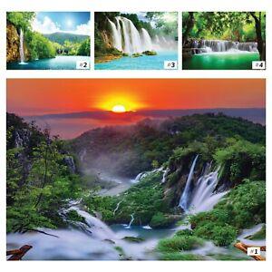 Vlies Fototapete Wasserfall 3D Sonnenuntergang Landschaft Wald Natur Dschungel 5