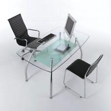 Tavolo scrivania da ufficio BERTRAM design MODERNO in vetro e acciaio 145 cm