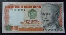 PERU BANKNOTE 50000 Soles de Oro, Pick 125b XF+ 1985