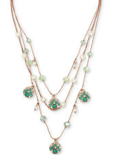 NWT Betsey Johnson Rose Gold-Tone Aqua Beaded Multi-Layer Necklace
