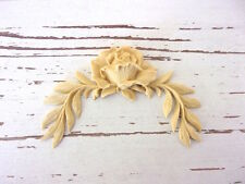 FURNITURE APPLIQUES * ARCHITECTURAL LEAVES w/ ROSE * PAINTABLE * STAINABLE