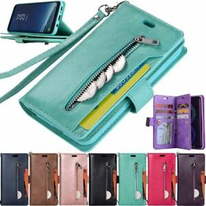 For Samsung Galaxy Note 10 S10 S9 S8 Zipper Wallet Flip Leather Case Stand Cover