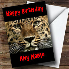 Stunning Leopard Face Personalised Birthday Greetings Card