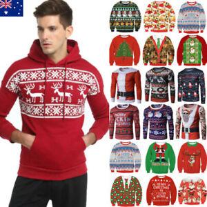 Unisex Ugly Christmas Sweater Women Men Xmas Jumper Novelty T-Shirt Tops Hoodie
