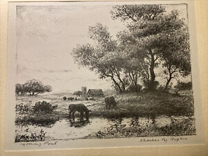"""CHARLES B. ROGERS """"Morning pond"""" SIGNED LITHOGRAPH MATTED 9"""" X 11"""" Rogers House!"""