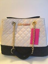 NWT Betsey Johnson 3 Entry Tote Quilted Cream Black HANDBAG PURSE CHAIN BR24725
