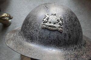 WW1 BRITISH BRODIE TRENCH HELMET EARLY PATTERN RAW EDGE MANCHESTER REGIMENT