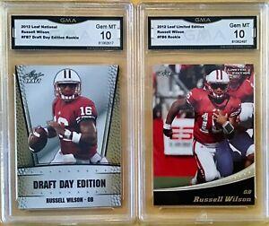 2 CARD LOT - 2012 Leaf #FB6 / #FB7 - RUSSELL WILSON - Rookie - GMA 10 Gem Mint