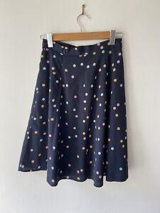 Size 8 PRINCESS HIGHWAY Navy Polka Dot Spot Print A-Line Skirt