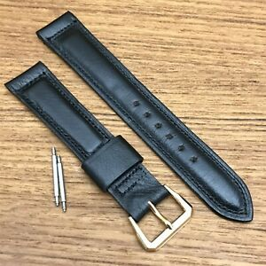 rare Omega 17.25mm Black Calf Leather Premium nos 1950s Vintage Watch Band