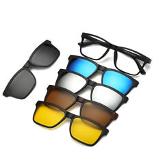5 in 1 Magnetic Lens Swappable Spectacle Frame 5 Clip Retro Polarized Sunglasses
