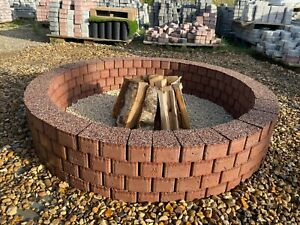 Round Fire pit 120 cm granite fire place Garden Patio BBQ Garden Decor Copper