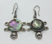 Vintage Sterling Silver Earrings 925 Taxco Mexico Abalone Shell Turtle Drop