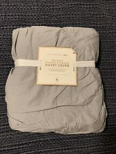 Pottery Barn Teen Gray Organic Cotton Ruched Diamond Twin Duvet Cover New