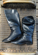 Vintage Women's Bandolino Black Leather Pirate Gypsy Bohemia Peasant Boots 8.5 M