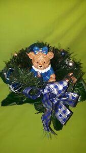 Weihnachtsgesteck beleuchtet mit Teddy Bär Adventsgesteck Weihnachtsstrauß Deko