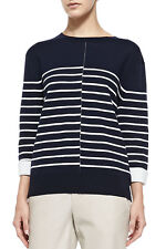 NWT $295 Vince Cotton/Wool Blend Double Face Stripe Sweater Navy Blue - Size S