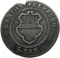 1830 Swiss Canton of Freiburg Billon Silver Antique Coin Cross Shield i59484