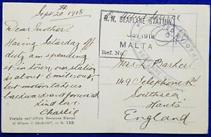 1918 MALTA -GB OAS R.N SEAPLANE STATION CACHET (RN-1)+ PASSED BY CENSOR (CS-NOV)