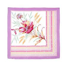 Foulard en soie, Petit Foulard carre de soie naturelle motif Floral carre soie