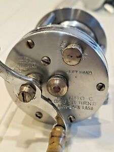 Scarce Left Hand marked South Bend 550C Anti-back-lash casting reel,click & drag