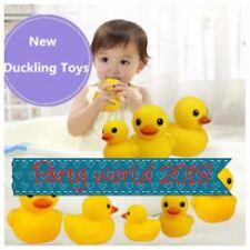 100 Wholesale yellow bath time Rubber mini Ducks Bath Toy Squeaky Water Play FOI