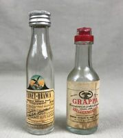 Fernet Branca & Grapppa Vintage Miniature Empty Glass Bottles Italian Liqueur