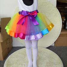 Kids Girls Rainbow Tutu Skirt 1-8 Year Old Dressup Party Ballet Dancing Costume